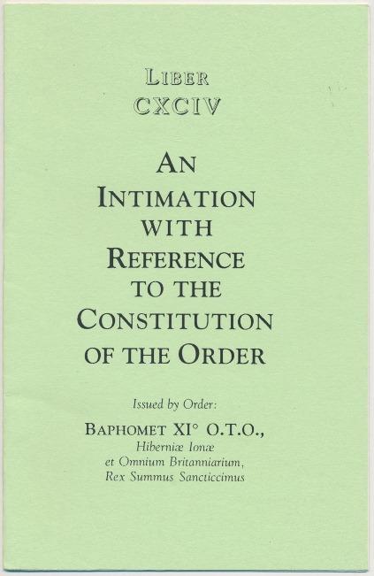 Capa da primeira impressão do Liber CXCIV